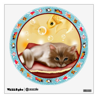 Fluffy baby Kitten on pillow day dreaming of fish Wall Sticker