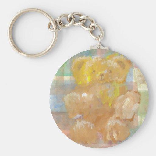 Fluffy Bear Teddy Bear CricketDiane Art Basic Round Button Keychain