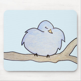Fluffy Bird on a branch Mouse Pad