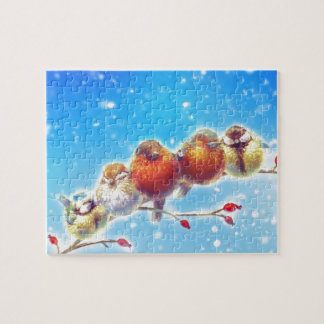 Fluffy Birds of Winter Jigsaw Puzzle