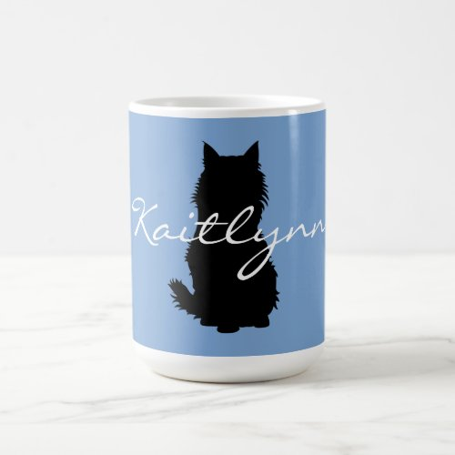 Fluffy Black Cat and paws on Blue Coffee Mug