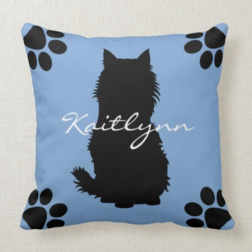 Fluffy Black Cat and paws on Blue Throw Pillow