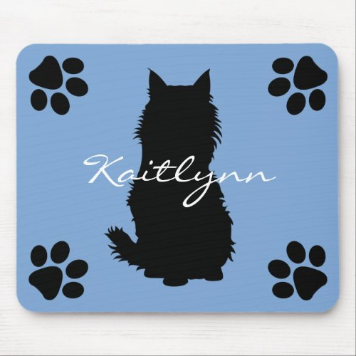 Fluffy Black Cat with Paws on Blue Mouse Pad