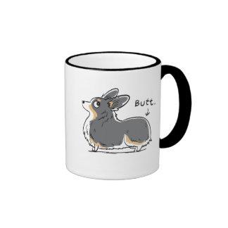 Fluffy Black-headed Tri Pembroke Corgi Butt Mug