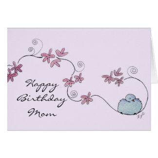 Fluffy Blue Bird Happy Birthday Mom Card