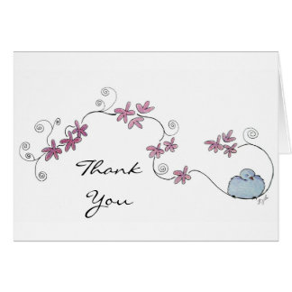 Fluffy Blue Bird Thank You Card