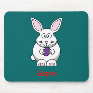 Fluffy bunny mouse pad
