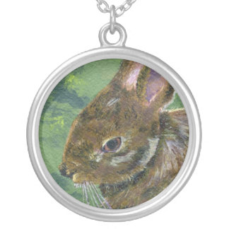 Fluffy Bunny Round Pendant Necklace