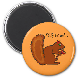 Fluffy but evil... 2 inch round magnet