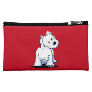 Fluffy Butt Westie Cosmetic Case Makeup Bag
