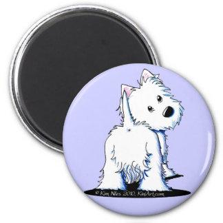 Fluffy Butt Westie Fridge Magnet