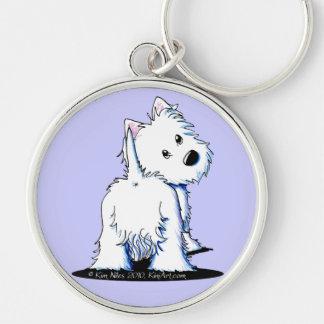 Fluffy Butt Westie Silver-Colored Round Keychain