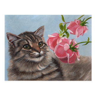 Fluffy Cat and 3 Pink Roses Postcard