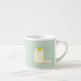Fluffy Cat and Yellow Butterfly Espresso Cup