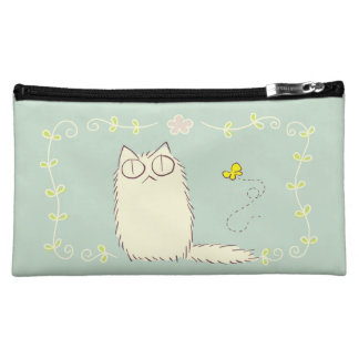 Fluffy Cat and Yellow Butterfly Makeup Bag