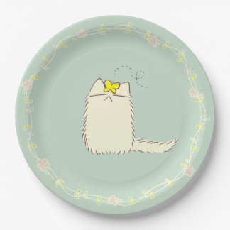 Fluffy Cat and Yellow Butterfly Paper Plate