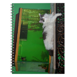 Fluffy cat by aquarium Notebook