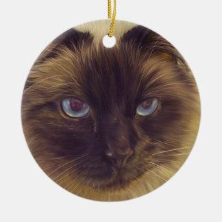 Fluffy Cat Ceramic Ornament