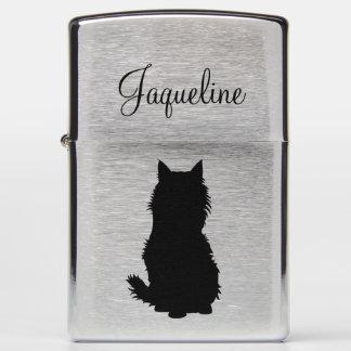 Fluffy Cat Silhouette Zippo Lighter