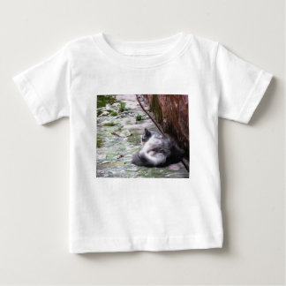 Fluffy cat sleeping crouch on the floor baby T-Shirt