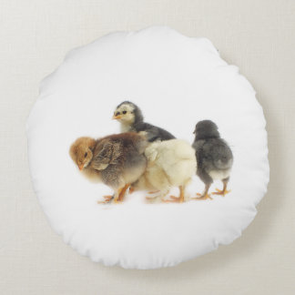 fluffy chicks round pillow