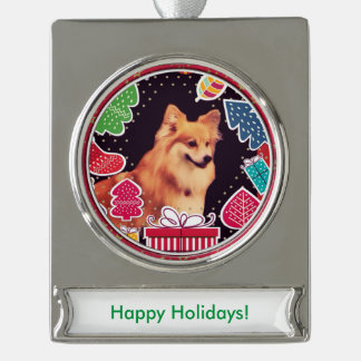 Fluffy Christmas Corgi Silver Plated Banner Ornament