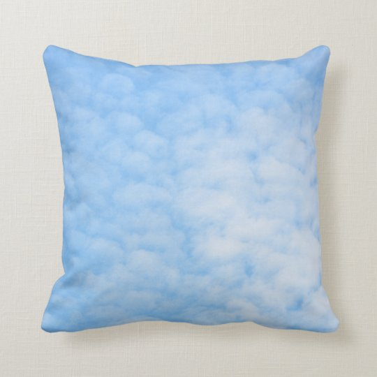 Fluffy clouds on blue sky custom pillow
