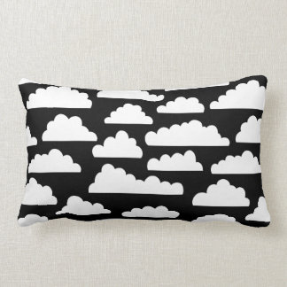 Fluffy Clouds Pattern - White on Black Pillow