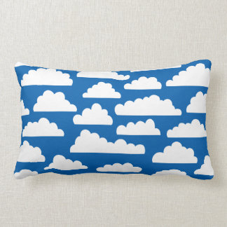 Fluffy Clouds Pattern - White on Blue 005cad Pillow