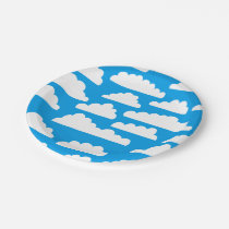 Fluffy Clouds Pattern - White on Blue 009dea Paper Plate