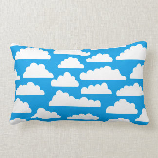 Fluffy Clouds Pattern - White on Blue 009dea Pillow