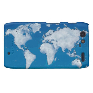 Fluffy clouds world map motorola droid RAZR covers