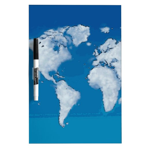 Fluffy clouds world map dry erase whiteboards