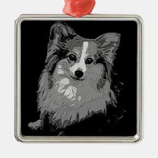 Fluffy Corgi Metal Ornament