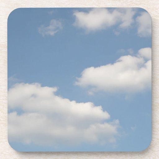 Fluffy Cumulus Clouds Cork Coaster