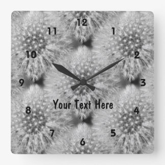 Fluffy Dandelions Nature Pattern Square Wall Clock
