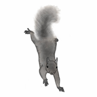 Fluffy Digitally Drawn Grey Squirrel Climbing Down Cutout