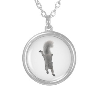 Fluffy Digitally Drawn Grey Squirrel Climbing Down Round Pendant Necklace