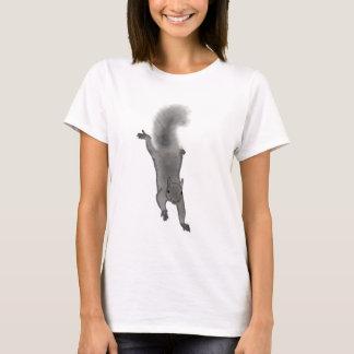 Fluffy Digitally Drawn Grey Squirrel Climbing Down T-Shirt