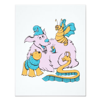 fluffy dog and friends cartoon art personalized announcements