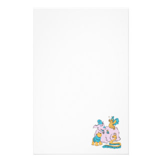 fluffy dog and friends cartoon art stationery