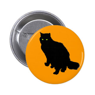 Fluffy Fat Black Cat on Orange Pinback Button