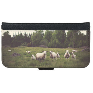 Fluffy Flock of Sheep & Baby Field Trees Rocks iPhone 6/6s Wallet Case