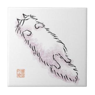 Fluffy Flop Cat Ceramic Tile