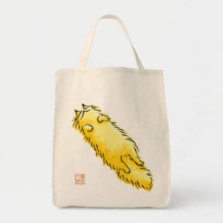 Fluffy Flop Cat (Yellow) Tote Bags