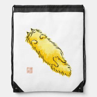 Fluffy Flop Cat (Yellow) Drawstring Bag