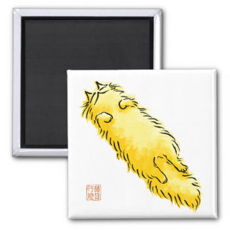 Fluffy Flop Cat (Yellow) 2 Inch Square Magnet