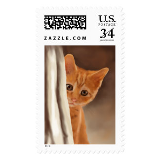 Fluffy ginger Kitten Behind a Curtain Postage