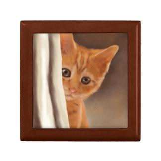 Fluffy Ginger Kitten Jewelry Box