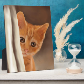 Fluffy Ginger Kitten Plaque